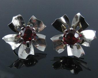 Vintage Sterling Silver Red Flower Screw Back Earrings