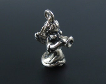 Vintage Sterling Silver 3D Angel With Trumpet Charm