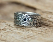 wide wedding ring . silver wedding band with sapphires . vine eternity band . engraved secret message . handmade ring by peacesofindigo