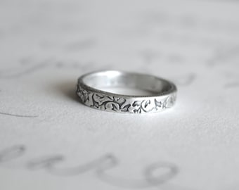 thin wedding band ring with vines . recycled silver leaf wedding bands . I love you engraved message rings . made to order