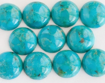 ONE 10mm Round Turquoise Cabochon | 10mm Turquoise Cabochons | Blue Turquoise 10mm |  Turquoise Cab