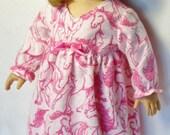 DÉDOUANEMENT / 18 inch poupée rose cheval chemise de nuit