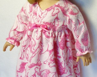 CLEARANCE / 18 inch  Doll Pink Horse Nightgown