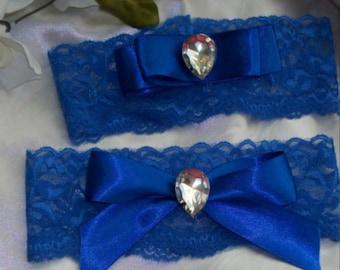 Blue Garter,Royal Blue Garter,Royal Blue Wedding,Plus Size Garter,Something Blue,Lace Garter Set,Bridal Garter Set,