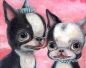 Boston Terrier Art, Big Eye, Lowbrow Art, Pop Surrealism, Giclee Print, Dog Art Print, Childrens Art, Nursery Decor, Pink, Whimsical Art