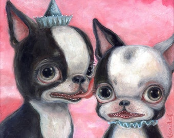 Boston Terrier Art, Big Eye, Lowbrow Art, Pop Surrealism, Giclee Print, Dog Art Print, Childrens Art, Nursery Decor, Pink, Whimsical Art