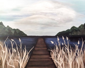 24x30, Large Acrylic on Canvas Landscape Painting of Pier on Lake and Blue Sky, Nature Painting, Water