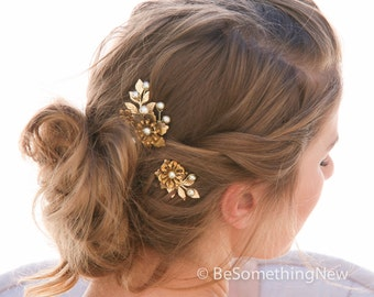 Wedding Hair Pins Large Vintage Golden Flower Bobby Pins with Gold Leaves and Pearls Hair Accessories, Brass Flower Bobbie Pins