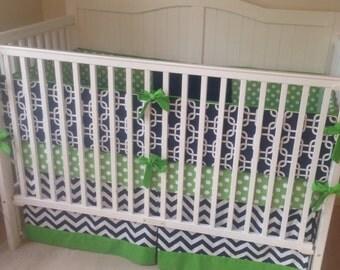 Modern Green and Navy Blue Crib Bedding Deposit