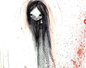 "5x7 fine art print - ""Cady"" - artwork by Jessica von Braun - Cute and Creepy little girl - Watercolor print"