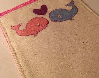 Cute Birth Control Pill Sleeve, Preppy Pair of Whales, Discreet for Your Bag