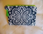 PEN & PENCIL Pouch Large zippered pouch zippered bag. Charcoal grey damask and lime green accents