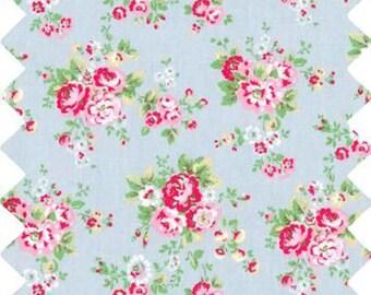 Oilcloth Fabric Homeware Craft Medium Floral on Blue Retro Style Fat Quarter