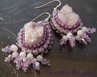 Snow Shadows - Bead Embroidery Bead Woven Lavender Earrings