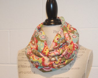 Avocado Green & Pink European Floral Print Cowl Infinity Scarf - 100% Cotton Knit Jersey Fabric - Fall Winter Fashion Accessory