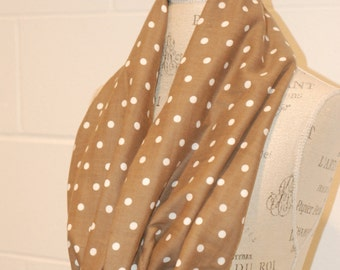 Brown and White Dot Infinity Scarf - Woven Japanese Cotton Voile Fabric - Modern Fashion Accessory - Ladies Teens Tweens