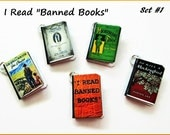Miniature Book Charms I Read Banned  Books Inspired Theme  Set of all Five (Set#1)