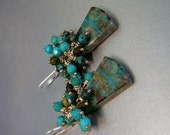 Brillant Blue and Green Chrysocolla Earrings with Faceted Turquoise Gemstones and Sterling Silver Ear Wires - OOAK