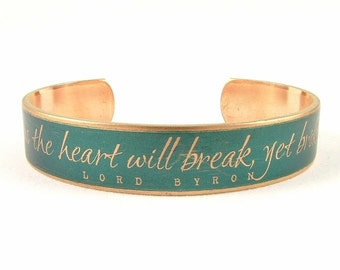 Skinny Cuff Bracelet - Lord Byron Book Jewelry - Turquoise Jewelry - Love Poem Quote - Perfect Valentines Gift For Her Wife