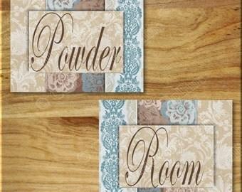 Blue and Brown DAMASK POWDER ROOM Print Wall Art Decor Bathroom Elegant Floral Flowers Taupe Beige