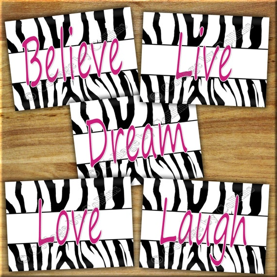 Pink zebra print wall art girl teen bedroom decor inspirational laugh