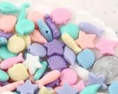 Mermaid Beads - Seashore Mix Small Pastel Mermaid Acrylic or Resin Beads - Shell, Seahorse and Starfish - 150 pc set