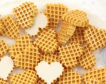 Fake Food Cabochon - 22mm Heart Shaped Waffle Sweet Breakfast Food Flatback Resin or Acrylic Cabochons - 7 pc set
