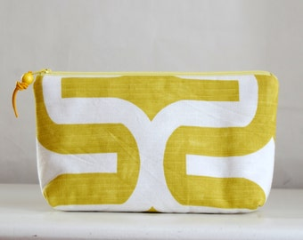 Embrace Chartreuse Wide Padded Zipper Pouch Gadget Case Cosmetics Bag - READY TO SHIP