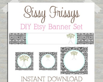 INSTANT DOWNLOAD - Premade Etsy Blank DIY Banner Set - Etsy Shop Banner Set - Etsy Banner Set - Etsy Kit - Browns and Pink - 90961864
