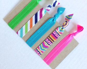 Aztec Elastic Hair Ties / Preppy Stripe Elastic Hair Ties / Yoga Hair Ties in pink blue and green / Hair Bands / Hair Rubberbands