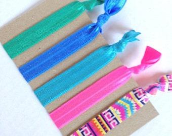 Aztec Elastic Hair Ties, No Crease Hair Ties, Ponytail Holder, FOE Elastic Hair Tie