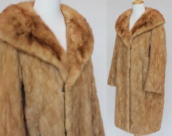 60's Blonde Mink Coat / Full Length / Shawl Collar / Small to Medium