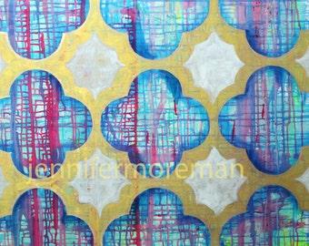 "Azule Original Painting 36x36"" by Jennifer Moreman"