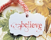 Tags Christmas Gift Tags Vintage Style Handmade Believe Party Favor Treat Bag Tag TC031
