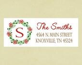 Return address labels, stickers, rectangular--winter wreath