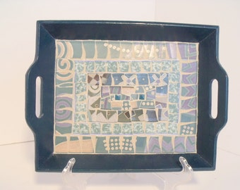 Mosaic Tray Teals and Purples Serving Tray