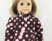 """REDUCED Doll Clothes 18"""" Dolls Handmade Brown with Pink Polka Dots Zip Pullover  Polar Fleece #3"""