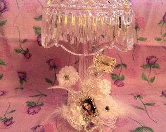 Diamond Cut Glass Candle Lamp