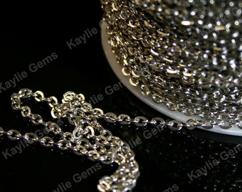 Platinum Dark Silver Flat Oval 2x3 mm Cross Link Cable Chains -12ft