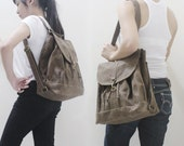 Backpack, Shoulder Bag, Tote, Satchel, Rucksack, Sling Bag, Drawstring Bag, Gift for Women - PRESSIE in Waxed Canvas Brown - SALE 30% OFF