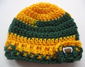 Crocheted Green & Gold Football Team Baby Hat - Size 0 to 3 Months - Newborn Green and Gold Football Hat - Ready To Ship