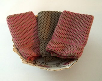 Dish Cloths Knit in Cotton in Pink Camo and Taupe