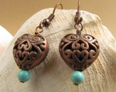 Copper Hearts with Turquoise Beaded Accents, Handmade by Harleypaws, SRAJD