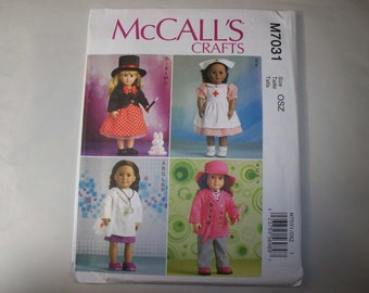 """New McCall's 18"""" Doll Clothing Pattern, 7031 (Free US Shipping)"""