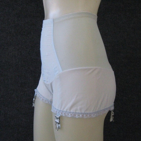 Rare 60s Vintage Blue Nylon Garter Panties Panty Girdle With