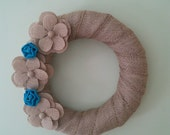 Burlap Wrapped Wreath with Turquoise and Burlap Flowers  Great For Wedding Decorations or Home Decor Accent Wreath