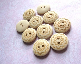 Wooden button - Brown Flower Pattern 2 Holes Unfinished Wood Sewing Buttons Natural Color 20mm - set of 12  (BB116A)