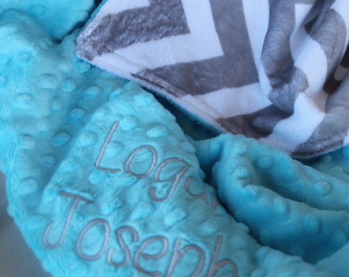 Personalized, Embroidered, Minky, Chevron, Crib, Nursing, Baby, Cuddle, Soft and Comfy 30x40 Stroller Blanket, Gray, Light Turquoise