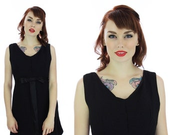 60s Babydoll Dress 1960s Vintage Mod Cocktail Formal Black Silk Dolly Bow Party Prom Mad Men Medium M Small S