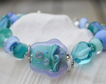 BY the SEA-Handmade Lampwork and Sterling Silver Bracelet